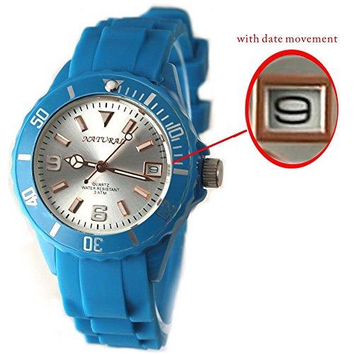 10 fw893 F rund blau Watchcase Wasser widerstehen Silikon Blau Band Unisex Fashion Armbanduhr