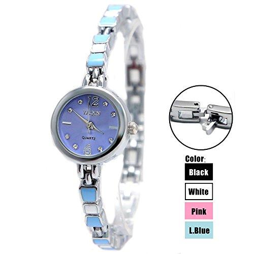 10 fw915 C Neue Runde PNP glaenzend Silber Watchcase hellblau Zifferblatt Frauen Armband Armbanduhr
