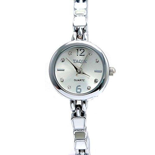 10 fw915b New glaenzend Silber Band Rund Matt Silber Zifferblatt Damen Frauen Armband Armbanduhr