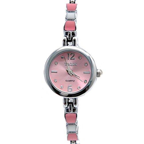 10 fw915d New glaenzend Silber Band PNP glaenzend Silber Watchcase Pink Zifferblatt Armband Armbanduhr