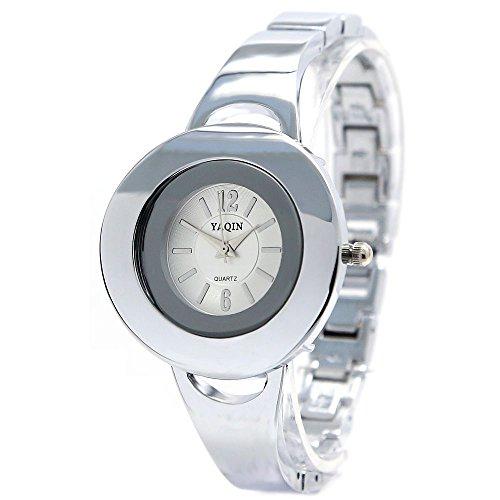 10 fw916 a rund PNP glaenzend Silber Watchcase weiss Zifferblatt Damen Frauen Armband Armbanduhr