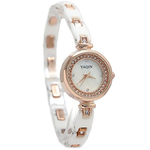 10 fw917 a Rose Gold Ton Band Rund Weiss Zifferblatt Damen Frauen Keramik Armband Armbanduhr
