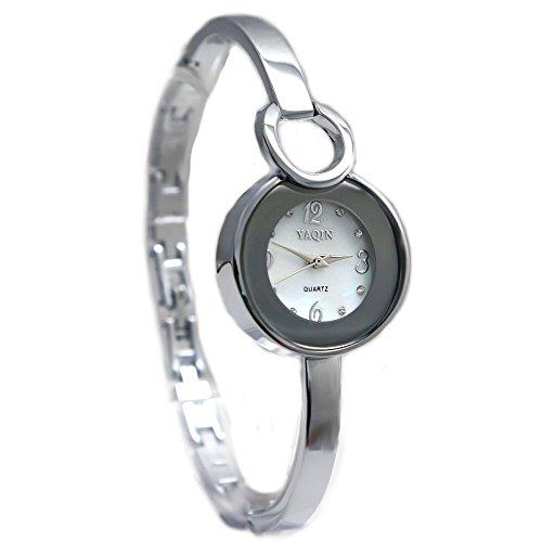 10 fw918 a rund PNP glaenzend Silber Watchcase weiss Zifferblatt Damen Frauen Armband Armbanduhr