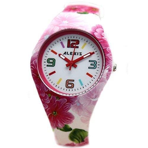 10 fw922 F PNP glaenzend Silber Watchcase Silikon Pink Blume Band Unisex Alexis Fashion Armbanduhr