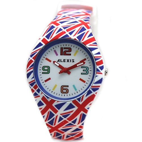 10 fw922b rund glaenzend Silber Watchcase Silikon Rot Band UK Flagge Alexis Fashion Armbanduhr