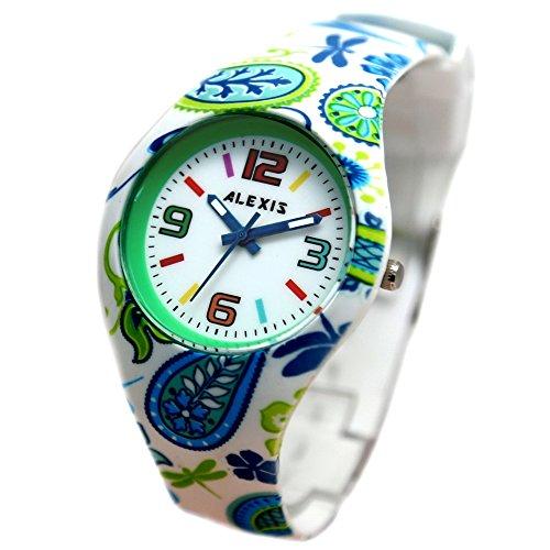 10 fw922d rund PNP glaenzend Silber Watchcase Silikon Gruen Band Alexis Fashion Armbanduhr