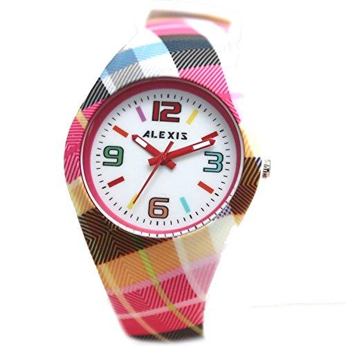 10 fw922g New PNP glaenzend Silber Watchcase Silikon Violett Band Alexis Fashion Armbanduhr