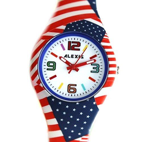 10 fw922i PNP glaenzend Silber Watchcase Silikon Rot Band Unisex Alexis Fashion Armbanduhr