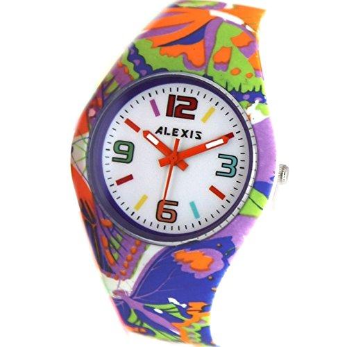 10 fw922j New PNP glaenzend Silber Watchcase Silikon Violett Band Bunte Alexis Fashion Armbanduhr