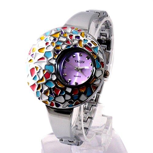 10 fw923 a glaenzend Silber Band Lila Zifferblatt Damen Frauen Colorful Fall Armband Armbanduhr