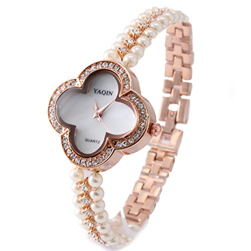 10 fw925 a Rose Gold Ton Band weiss Zifferblatt Damen Frauen immited Pearl Armband Armbanduhr