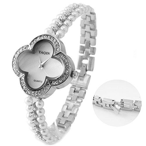 10 fw925b PNP glaenzend Silber Blume Watchcase weiss Zifferblatt Frauen immited Pearl Armband Armbanduhr