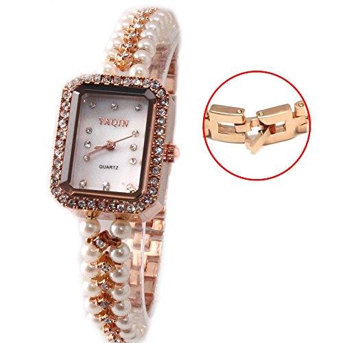 10 fw926 a Rose Gold PNP Watchcase weiss Zifferblatt Damen immited Pearl Armband Armbanduhr