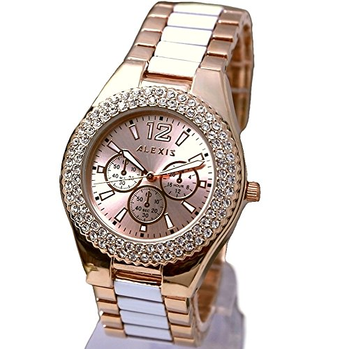 10 fw929 a Rose Gold Ton Zifferblatt Rose Gold Ton Band Damen Alexis Marke Fashion Armbanduhr