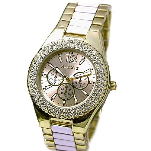 10 fw929b Gold Ton Zifferblatt rund Wasser widerstehen Damen Frauen Alexis Marke Fashion Armbanduhr
