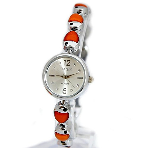 10 fw930 a New Silber Zifferblatt glaenzend Silber Band Damen Frauen Fish Pattern Fashion Armbanduhr