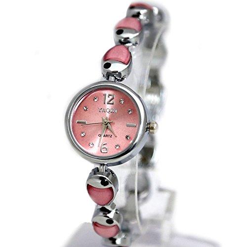 10 fw930b Pink Zifferblatt glaenzend Silber Band Rund Damen Frauen Fish Pattern Fashion Armbanduhr