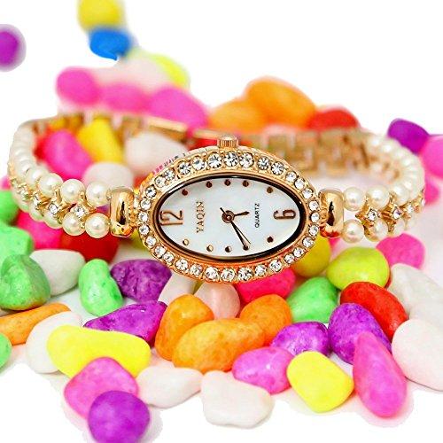 10 fw932 a Elliptische Rose Gold Ton Watchcase weiss Zifferblatt Damen immiated Pearl Armband Armbanduhr