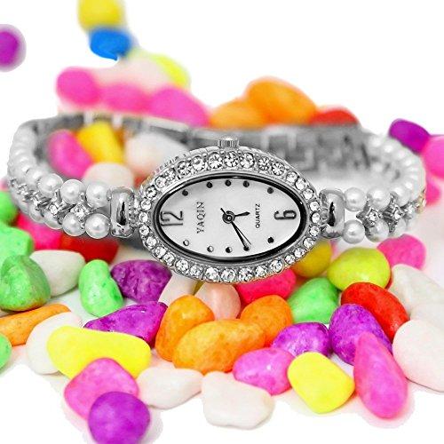 10 fw932b glaenzend Silber Ton Band Elliptische weiss Zifferblatt Damen Frauen immiated Perle Bling Bling Armband Armbanduhr