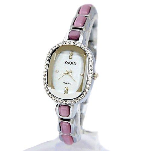 10 fw933 C Elliptische weiss Zifferblatt Damen Frauen immited Katzenauge Stein Bling Bling Armband Armbanduhr