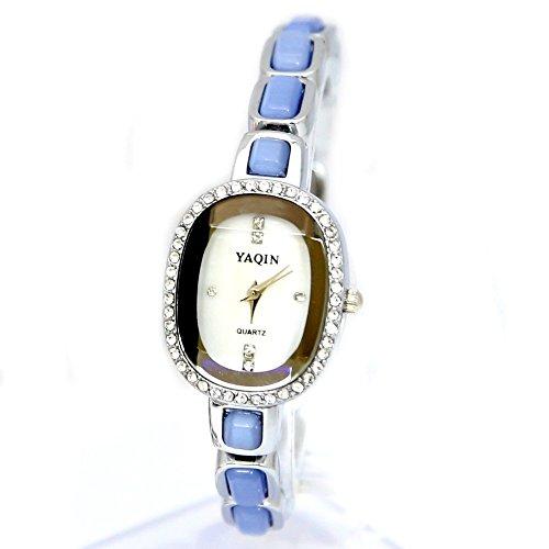 10 fw933d Elliptische weiss Zifferblatt Damen Frauen immiated Katzenauge Stein Kristall Armband Armbanduhr