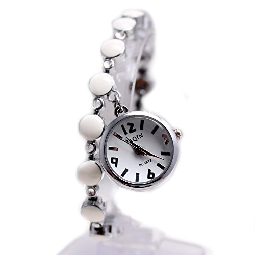 10 fw934 a PNP glaenzend Silber Watchcase weiss Zifferblatt Damen Frauen Anhaenger Armband Armbanduhr