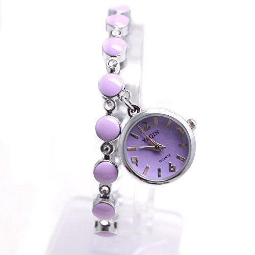 10 fw934 C rund PNP glaenzend Silber Watchcase violett Zifferblatt Frauen Damen Anhaenger Bling Bling Armbanduhr