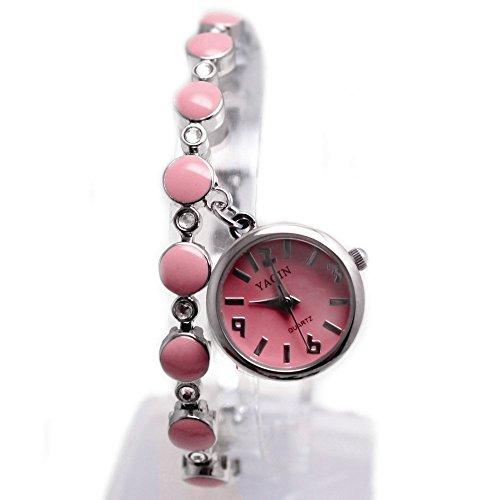 10 fw934b New glaenzend Silber Band Rosa Rund Zifferblatt Damen Frauen Anhaenger Armband Armbanduhr