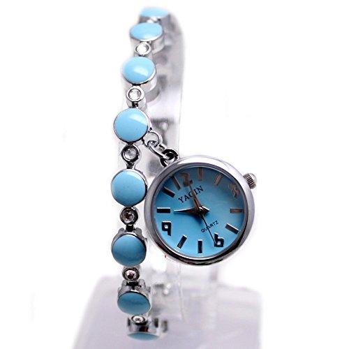 10 fw934d New glaenzend Silber Band Hellblau Zifferblatt Damen Frauen Anhaenger Bling Bling Armband Armbanduhr
