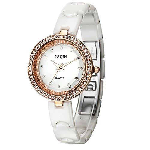 10 fw935 a weiss Band Rose Gold Ton Watchcase Frauen Eleganz Keramik Kristall Uhr