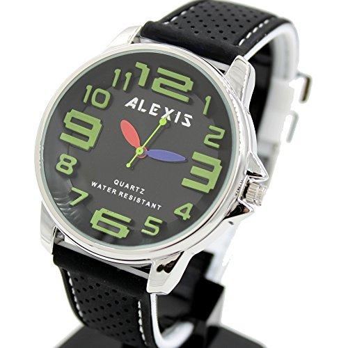 10 fw939 C rund PNP glaenzend Silber Watchcase Silikon Schwarz Band Alexis Fashion Armbanduhr