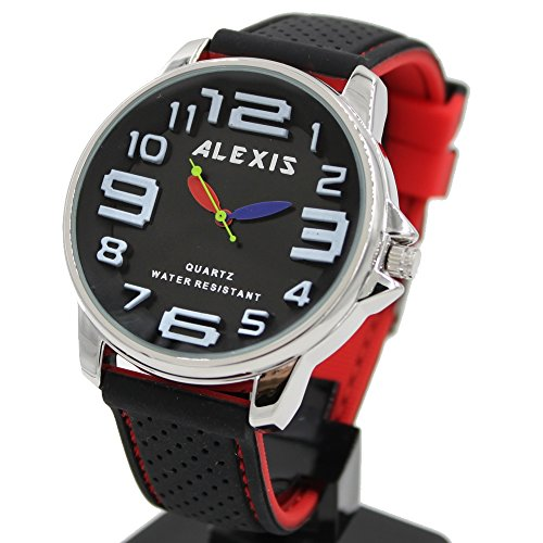 10 fw939 a Wasser widerstehen Silikon Schwarz Band Unisex trendige Alexis Marke Fashion Armbanduhr
