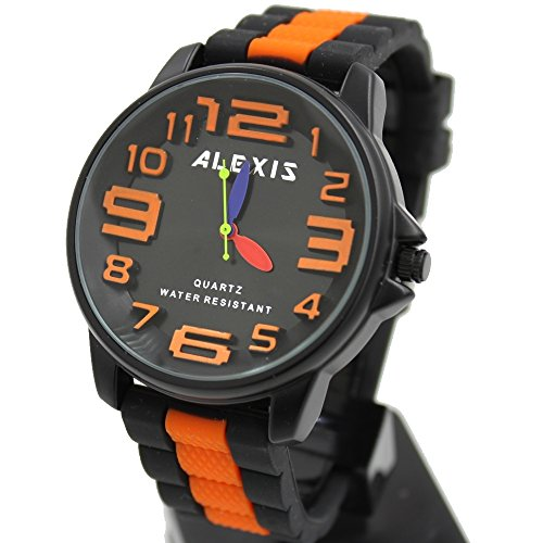 10 fw939 F schwarz Zifferblatt Wasser widerstehen Silikon Schwarz Band Alexis Big Zifferblatt Fashion Armbanduhr