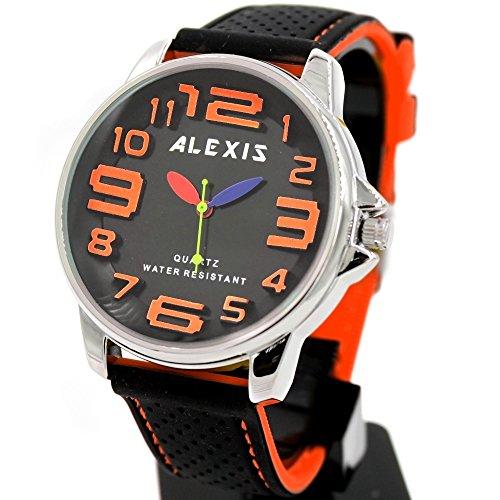 10 fw939b rund Wasser widerstehen Silikon Schwarz Band stylisches Alexis Fashion Watch