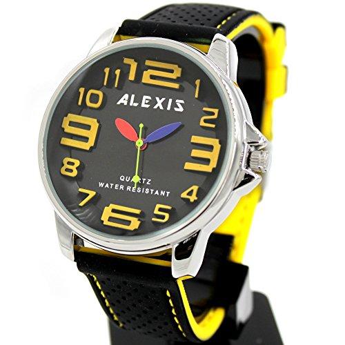10 fw939d schwarz Zifferblatt Wasser widerstehen Silikon Schwarz Band Alexis Big Zifferblatt Fashion Armbanduhr
