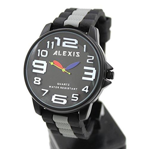 10 fw939e schwarz Zifferblatt Wasser widerstehen Silikon Schwarz Band Alexis Big Zifferblatt Fashion Armbanduhr