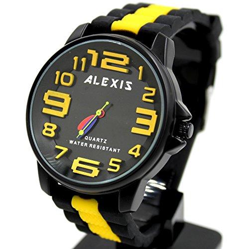 10 fw939h rund Wasser widerstehen Silikon Schwarz Band Alexis Marke 3D Zifferblatt Fashion Armbanduhr
