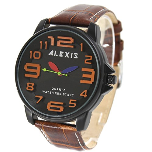 10 fw939i New Coco braun echtes Leder Band Schwarz Rund Watchcase Wasser widerstehen Herren Frauen Fashion Armbanduhr