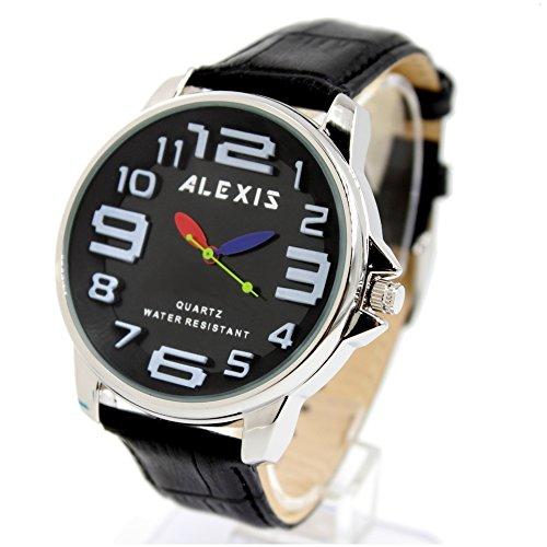 10 fw939j schwarz echtes Leder Band PNP glaenzend Silber Watchcase Wasser widerstehen Boy Girl Fashion Armbanduhr