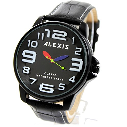 10 fw939l schwarz echtes Leder Band PNP glaenzend Silber Watchcase Wasser widerstehen Boy Girl Fashion Armbanduhr