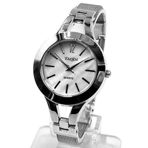 10 fw940b rund PNP glaenzend Silber Watchcase weiss Zifferblatt Damen Frauen Armband Armbanduhr