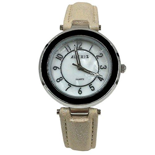 10 fw961b NEU weiss Zifferblatt weiss Band PNP glaenzend Silber Watchcase Damen Fashion Armbanduhr