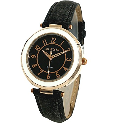 10 fw961d NEU schwarz Zifferblatt schwarz Band Rund Wasser widerstehen Damen Frauen Fashion Armbanduhr