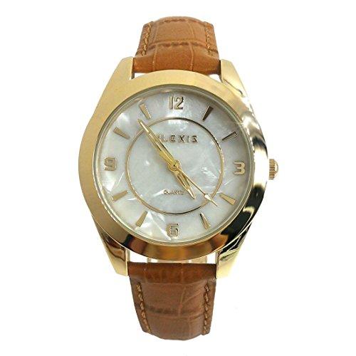 10 fw972d Gold Ton Zifferblatt braun Band Rund Wasser widerstehen Damen Frauen Fashion Armbanduhr