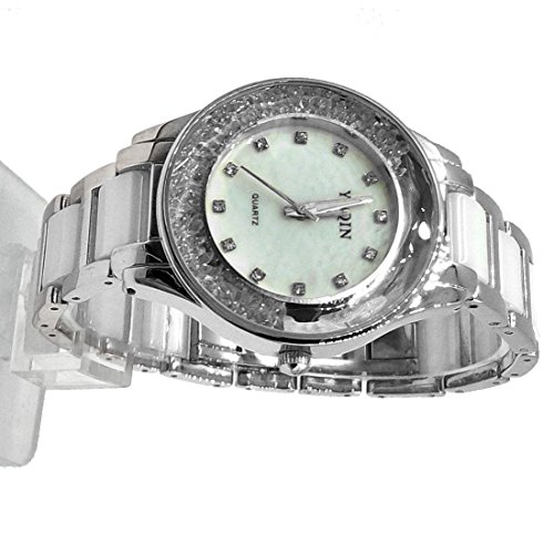 10 fw975b rund PNP glaenzend Silber Watchcase Damen Frauen Keramik Watch Fashion Watch