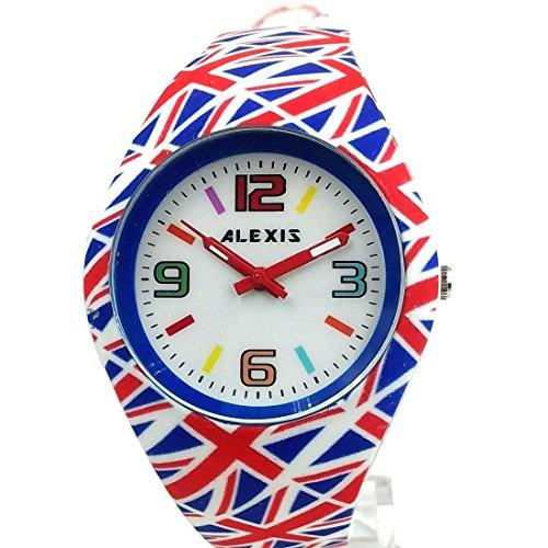 10 fw976e NEU weiss Zifferblatt rot Watchcase Silikon Rot Band Damen Frauen Fashion Armbanduhr