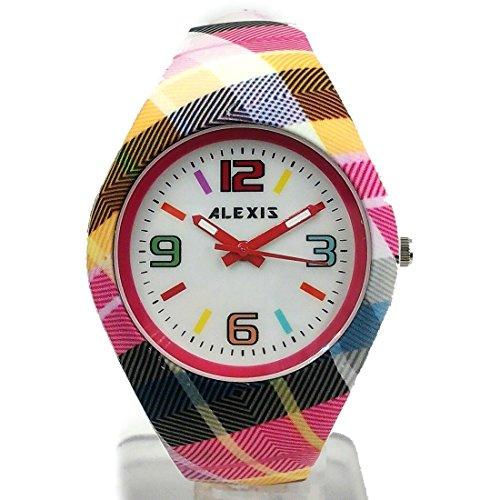 10 fw976i rund magenta Watchcase Silikon Magenta Band Damen Frauen Fashion Armbanduhr