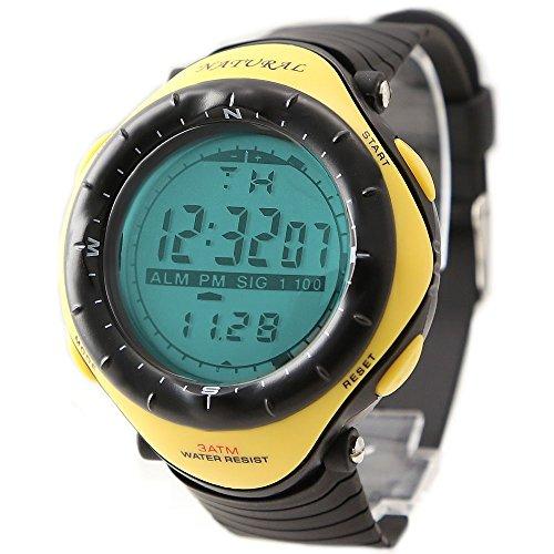 10dw003b Unisex Chronograph Alarm Hintergrundbeleuchtung Schwarze Luenette Wasserfest digital Gelb