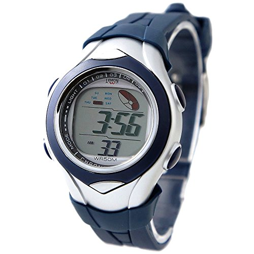 10dw045 F PNP glaenzend Silber Watchcase Chronograph Datum Dunkelblau Luenette Digitale Armbanduhr