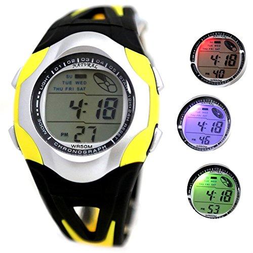 10dw313j Datum Alarm PNP matt silber Luenette Herren Frauen 100 getestet 3 ATM Digital Armbanduhr Schwarz mit Gelb